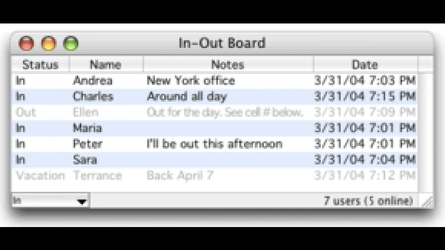 In-Out Board for Mac - review, screenshots