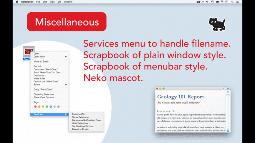 Scrapbook with Neko for Mac - review, screenshots
