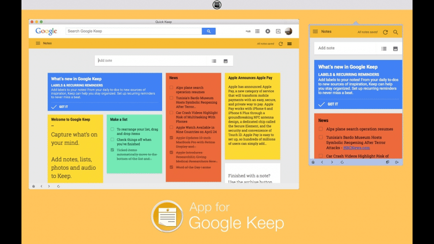 Notes for Google Keep for Mac - review, screenshots