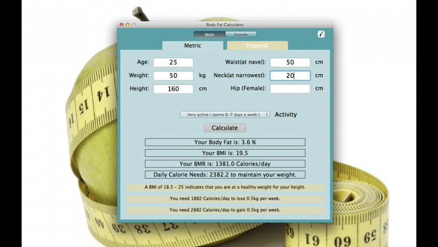 Body Fat Calculator for Mac - review, screenshots
