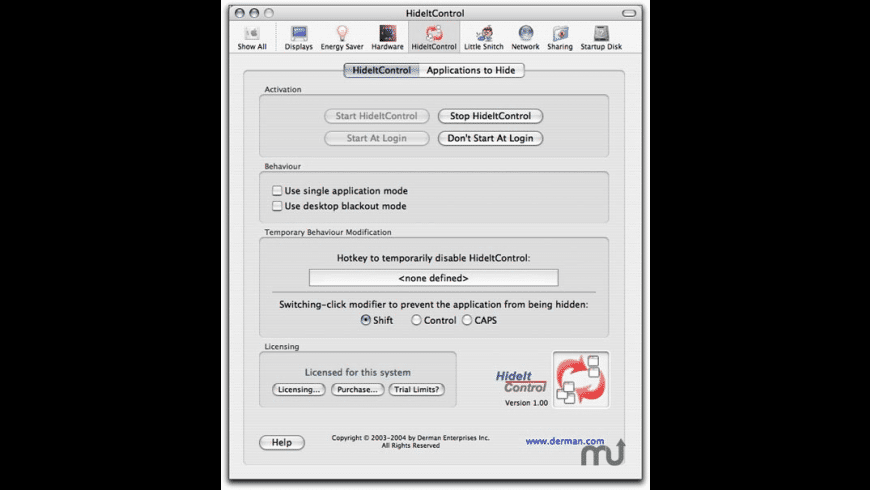 HideItControl for Mac - review, screenshots