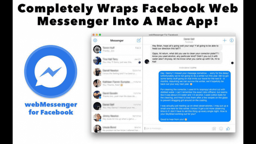 webMessenger For Facebook for Mac - review, screenshots