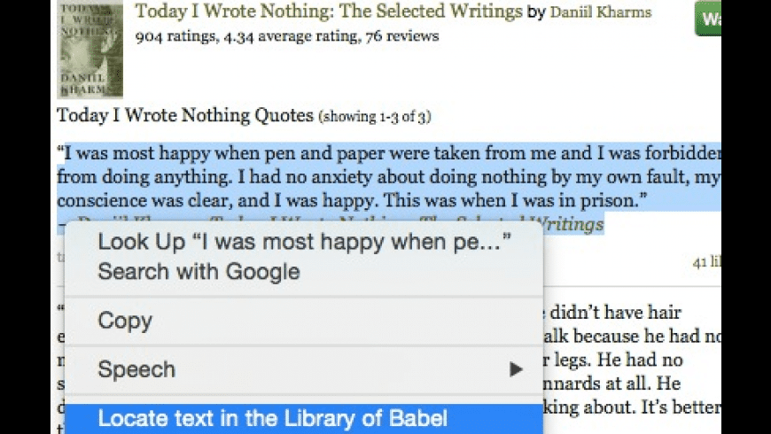 libraryofbabel.info resource locator for Mac - review, screenshots