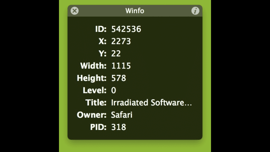 Winfo for Mac - review, screenshots