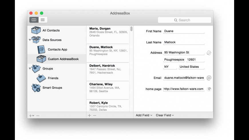 AddressBox for Mac - review, screenshots