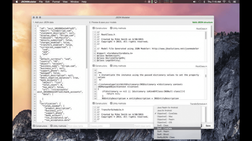 JSON Modeler for Mac - review, screenshots