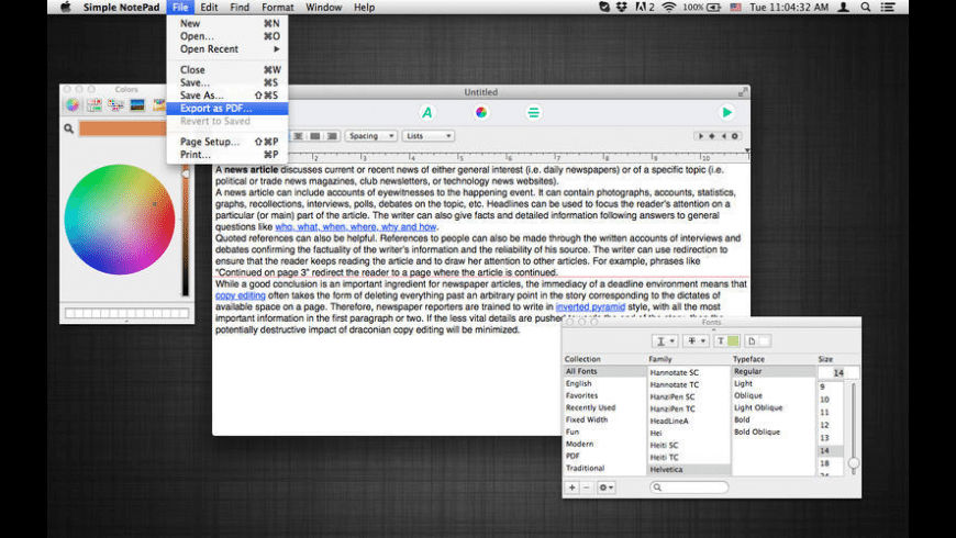 Simple NotePad for Mac - review, screenshots