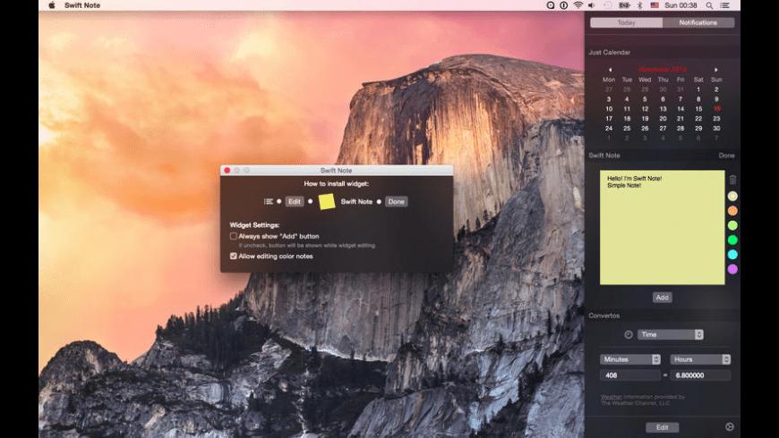 Swift Note Notes Widget for Mac - review, screenshots