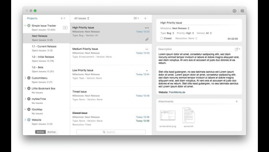 Simple Issue Tracker for Mac - review, screenshots