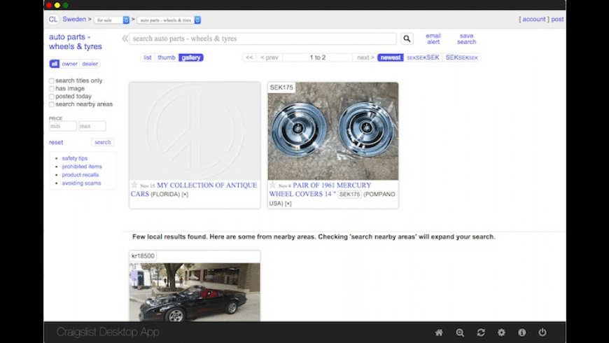 Craigslist Desktop for Mac - review, screenshots