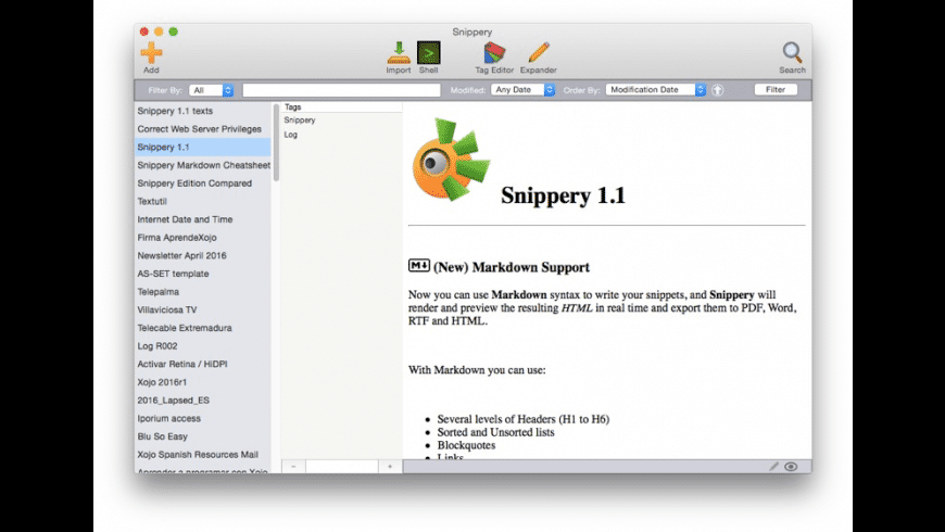 Snippery for Mac - review, screenshots