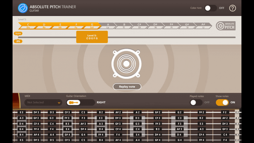 Absolute Pitch Trainer for Guitar for Mac - review, screenshots
