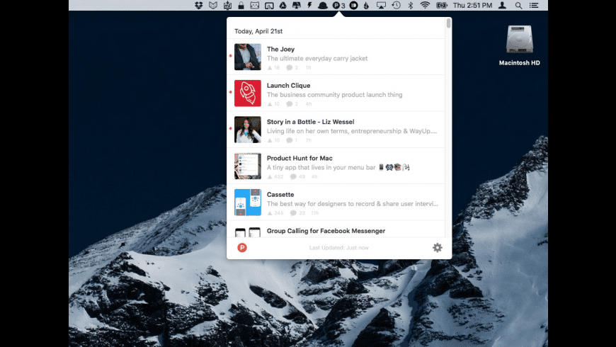 Product Hunt for Mac - review, screenshots