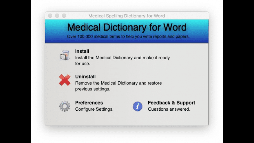 Medical Spelling Dictionary for Word for Mac - review, screenshots