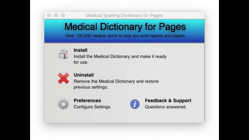Medical Spelling Dictionary for Pages for Mac - review, screenshots
