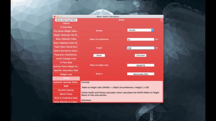 Basic Health Calculators for Mac - review, screenshots