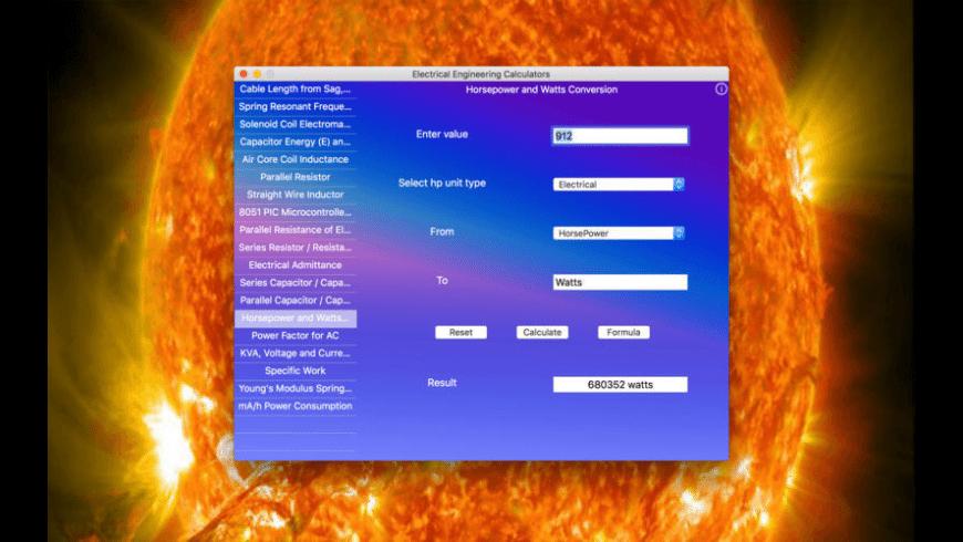 Electrical Engineering Calculators for Mac - review, screenshots