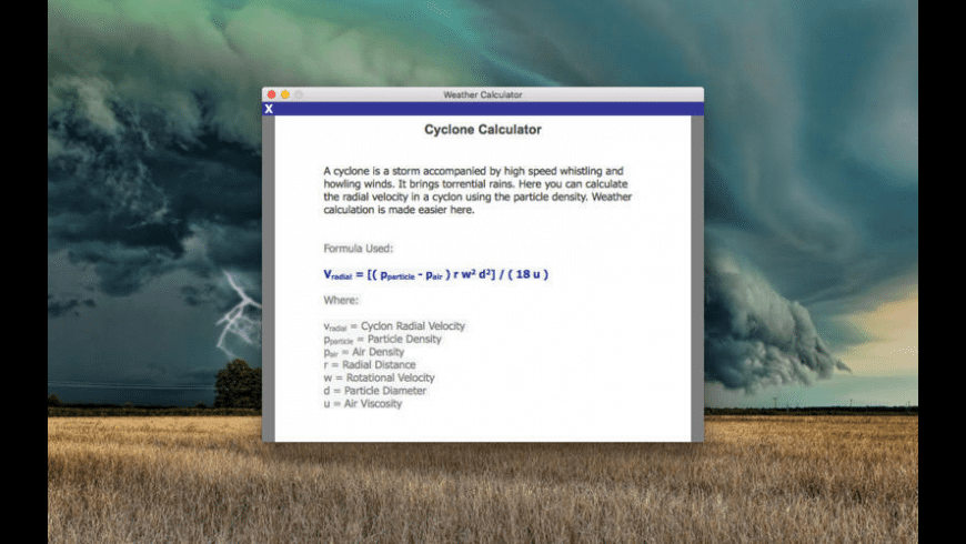 Weather Calculator for Mac - review, screenshots