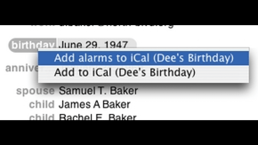 Add Birthday to iCal for Mac - review, screenshots