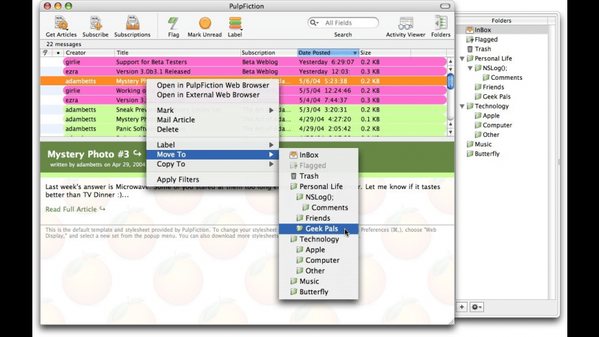 PulpFiction for Mac - review, screenshots