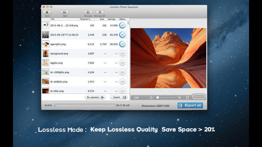 Lossless Photo Squeezer for Mac - review, screenshots