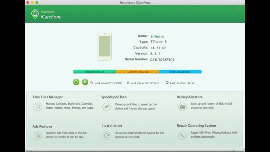 iCareFone for Mac - review, screenshots