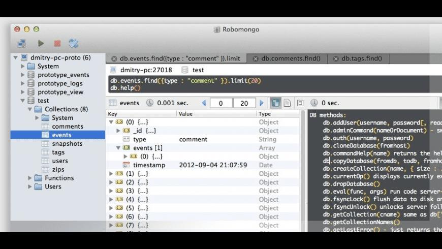 Robomongo for Mac - review, screenshots