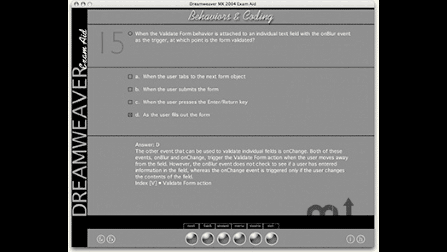Dreamweaver MX 2004 Exam Aid for Mac - review, screenshots