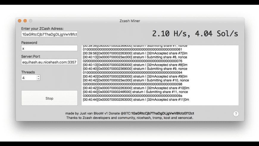 Zcash Miner for Mac - review, screenshots