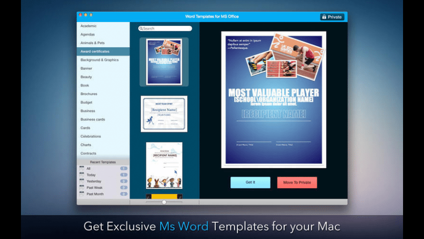 Templates for Microsoft Word for Mac - review, screenshots
