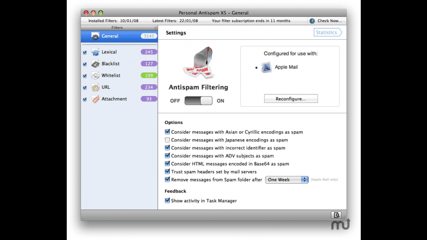 Personal Antispam X6 for Mac - review, screenshots