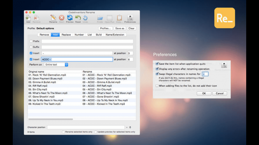 Rename for Mac - review, screenshots
