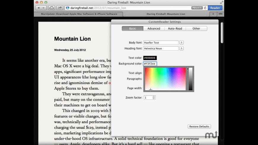 CustomReader for Mac - review, screenshots