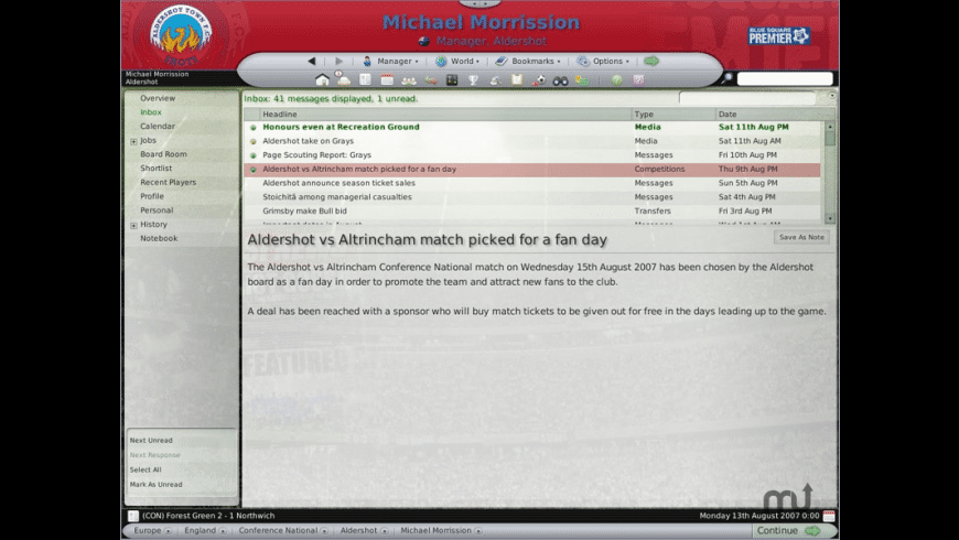 Football Manager 2008 for Mac - review, screenshots