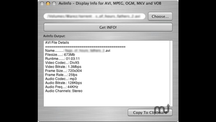 AviInfo for Mac - review, screenshots