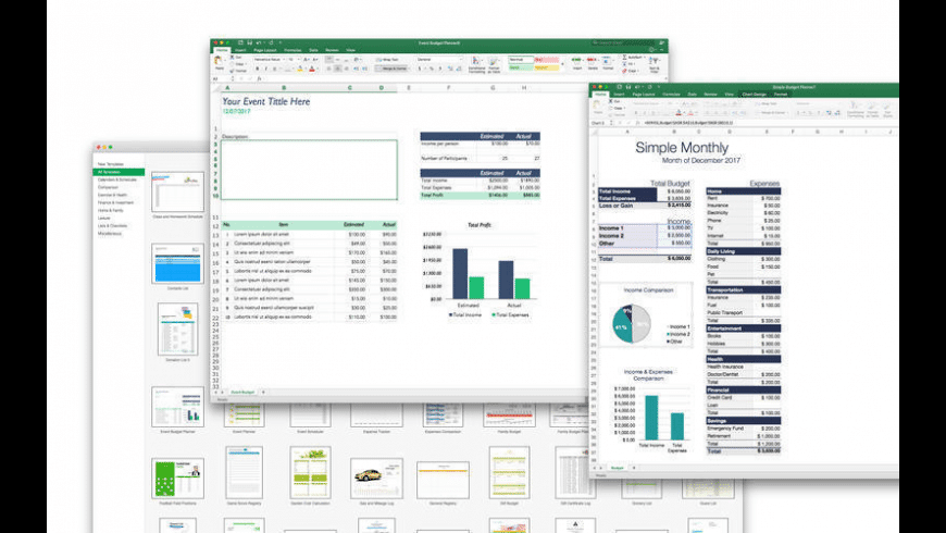Templates for MS Excel for Mac - review, screenshots