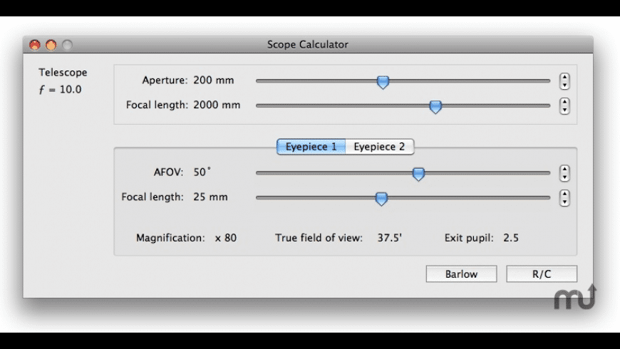 Scope Calculator for Mac - review, screenshots