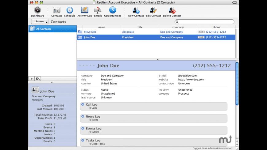 Redlien Account Executive for Mac - review, screenshots
