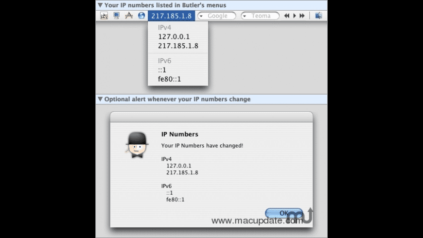 Butler: IP Numbers for Mac - review, screenshots