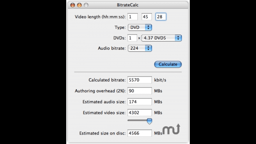 BitrateCalc for Mac - review, screenshots