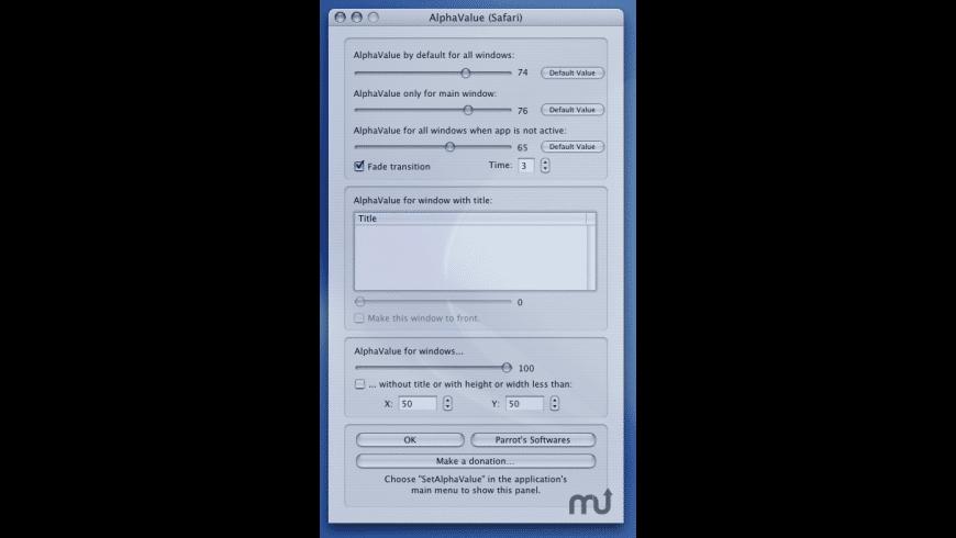 SetAlphaValue for Mac - review, screenshots