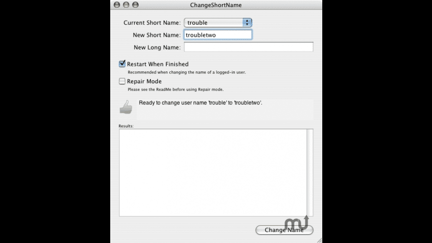ChangeShortName for Mac - review, screenshots