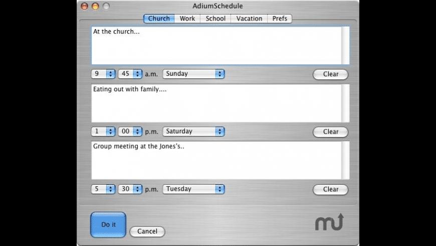 AdiumSchedule for Mac - review, screenshots