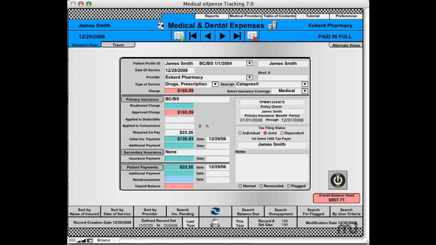 Medical eXpense Tracking for Mac - review, screenshots