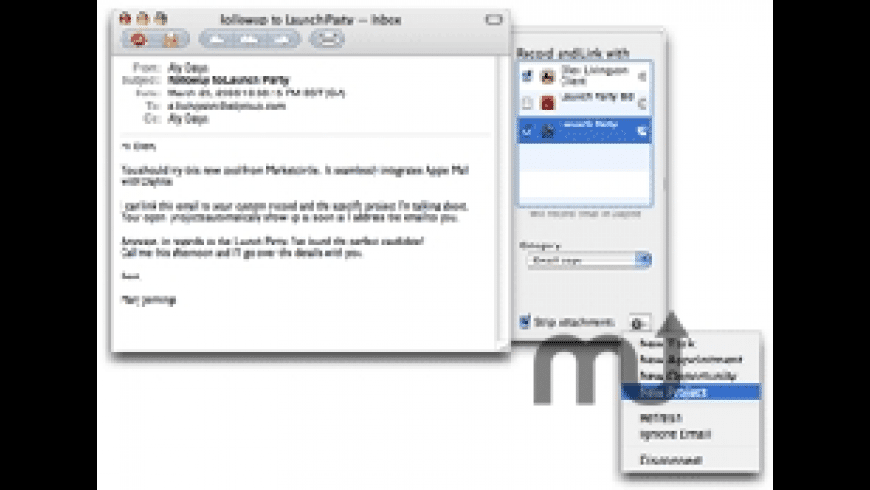 DayLite Mail Integration Module for Mac - review, screenshots