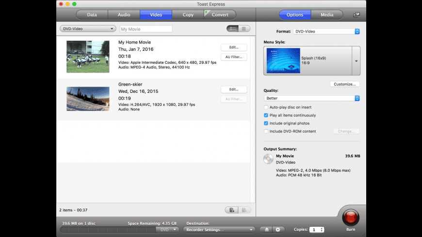 Toast Express for Mac - review, screenshots