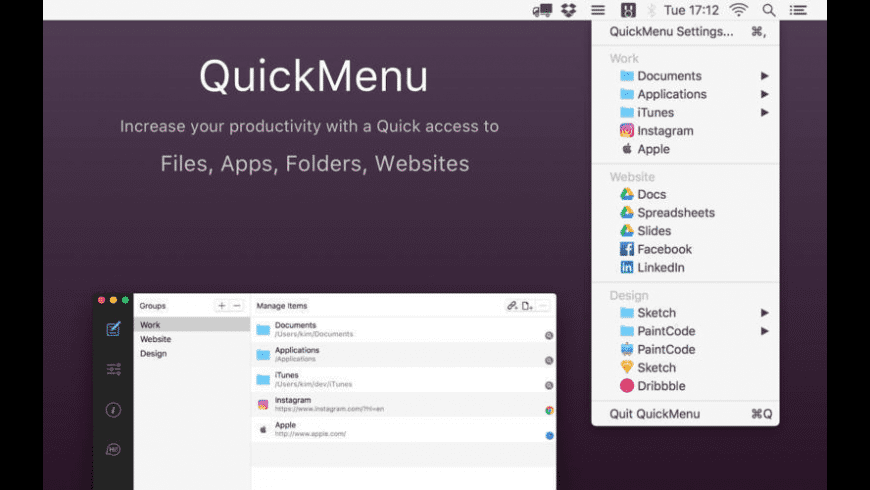QuickMenu for Mac - review, screenshots
