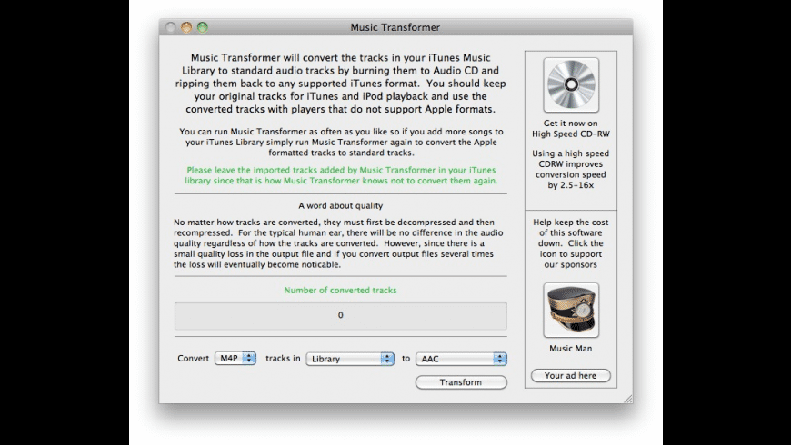 Music Transformer for Mac - review, screenshots