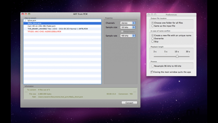 AIFF from PCM for Mac - review, screenshots