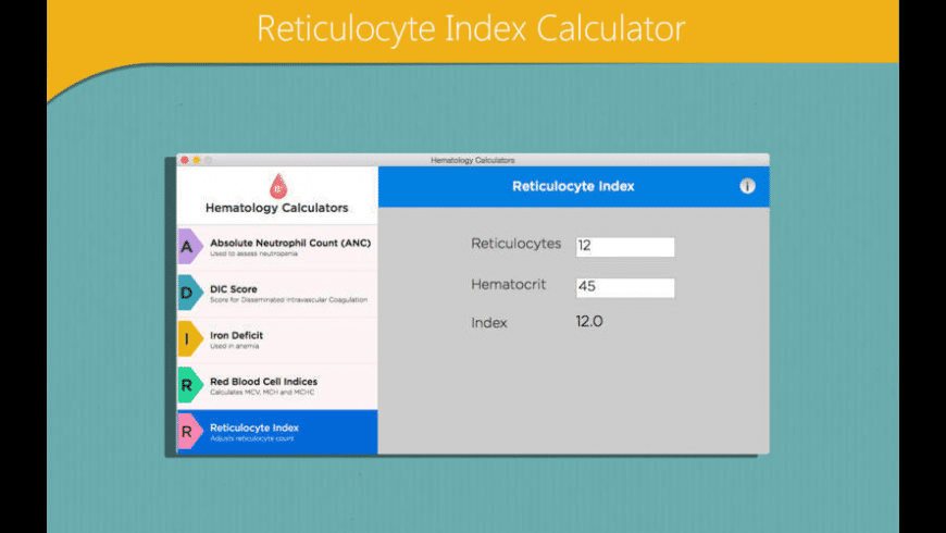 Hematology Calculators for Mac - review, screenshots